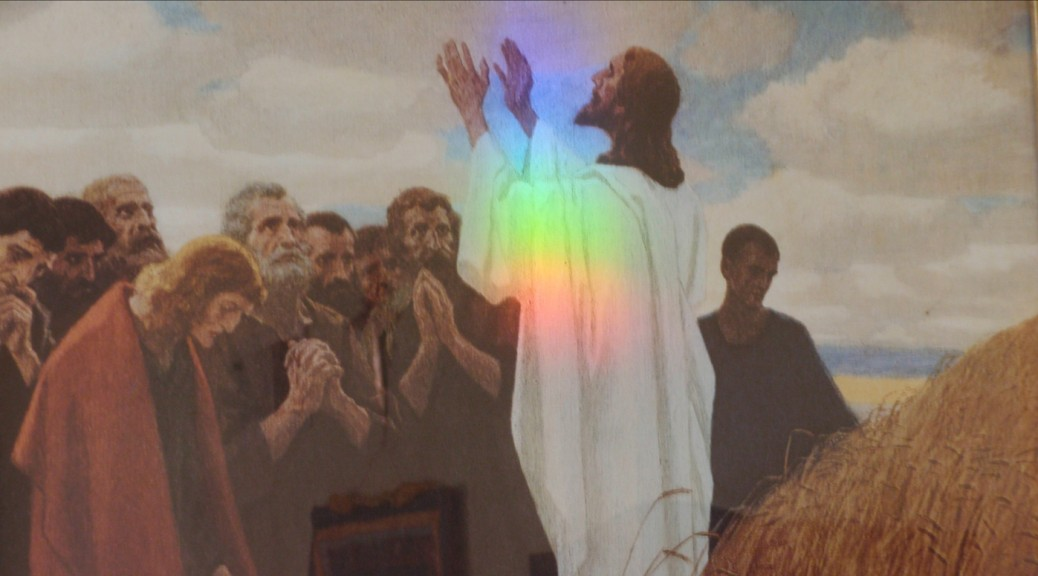 rainbow on picture of Jesus