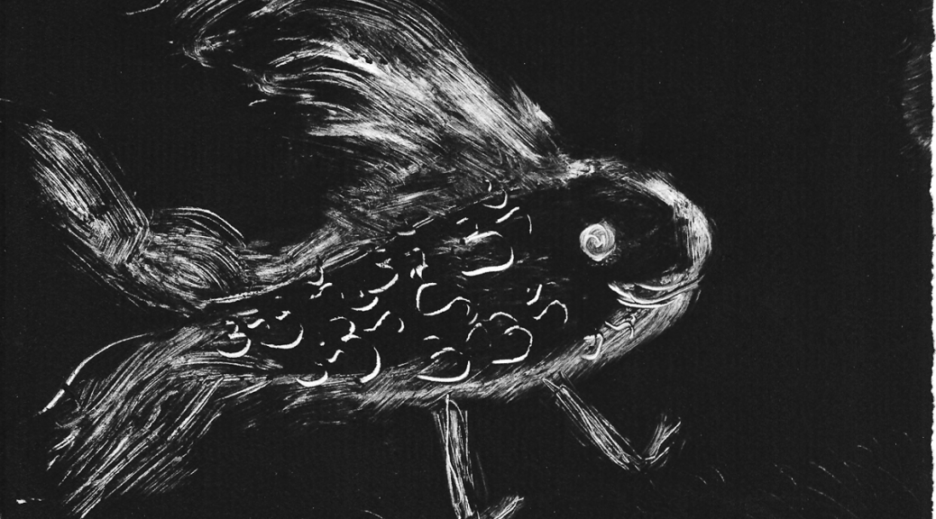 Fish Out of Water Monoprint