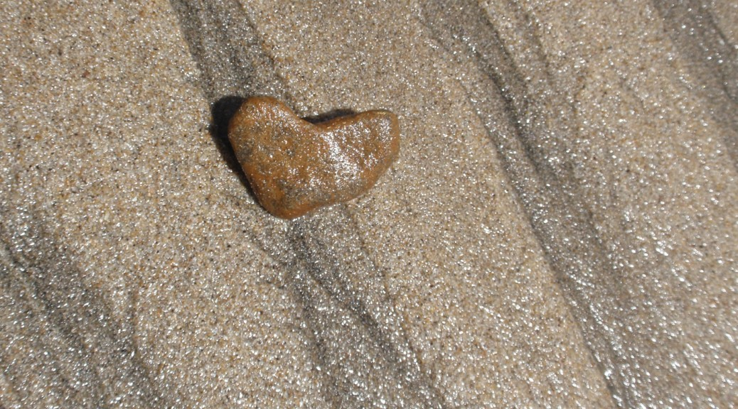 heart stone at beach